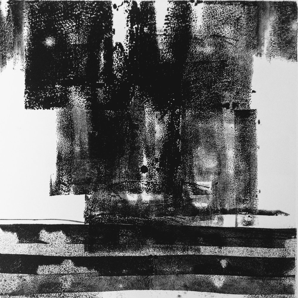 Dark Skies IV, monotype, 2017, 300x300mm, 250gm Somerset Satin