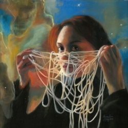 """String Theory"", 12"" x 12"" Pastel over gouache on board, copyright Honey Lea Gaydos, 2017 Inspired by The Theory of Everything The seemingly irreconcilable differences of relativity and quantum physics united! Explaining all known forces and matter in the universe. Whew! Who knew the universe is made up of loops of vibrating strings? Musicians!"