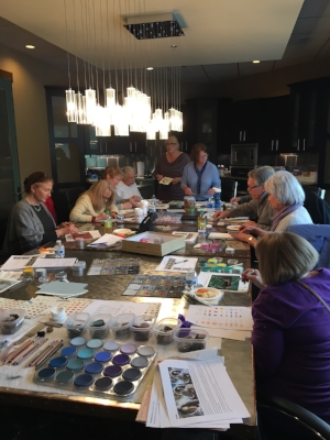 Having fun with PanPastels at the Pikes Peak Pastel Society meeting on September 29, 2017.