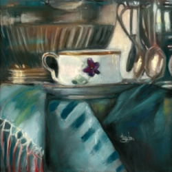"""Just One More Cup"", 12"" x 12"", pastel over gouache on board"