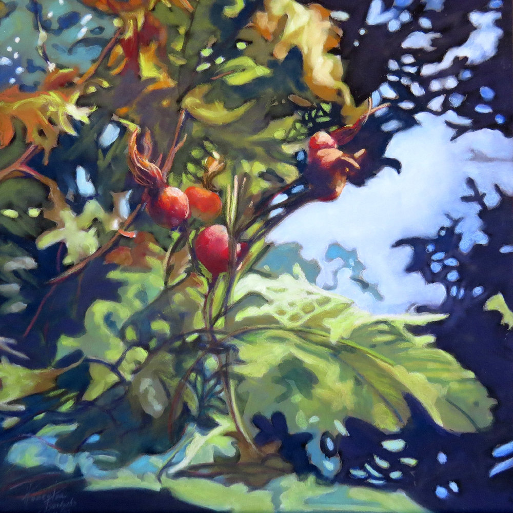 Rose Hips Longing for Fall - Pastel over gouache on board, 12