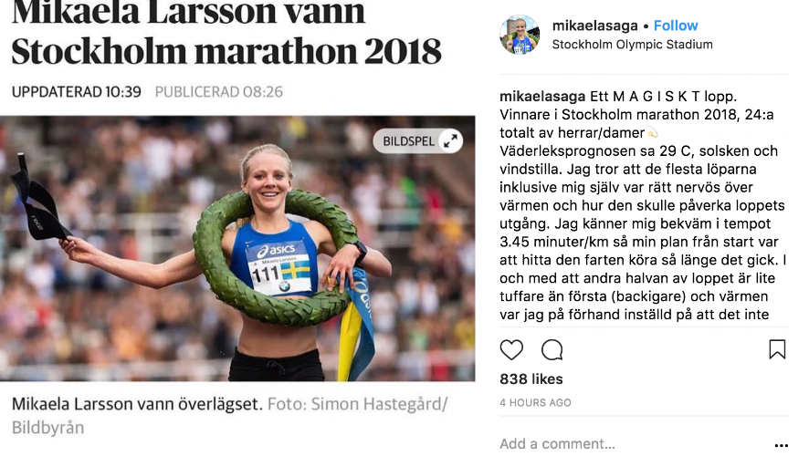 Stockholm Marathon  Mikaela Larsson