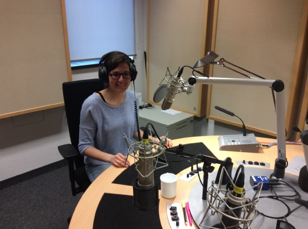 An exciting day at the MDR radio station in Leipzig, Germany. Ready to get connected to CBC Radio Quirks and Quarks!