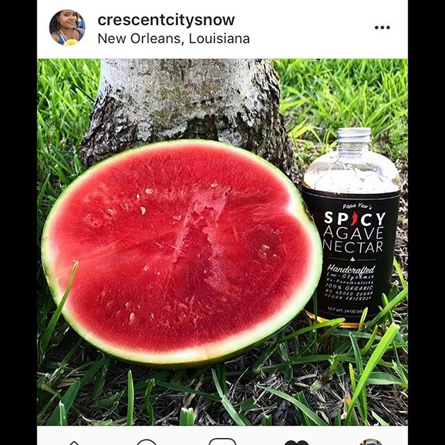 Thanks @crescentcitysnow #tasty #summer #treats #sweet #spicy #agavenectar #papayaws #picoftheday #foodporn #nomnom #plantbased #instagood #instafood #juicy #delicious #watermelon #fruit #snacks #dessert #spicyagave #spicyagavenectar #nola