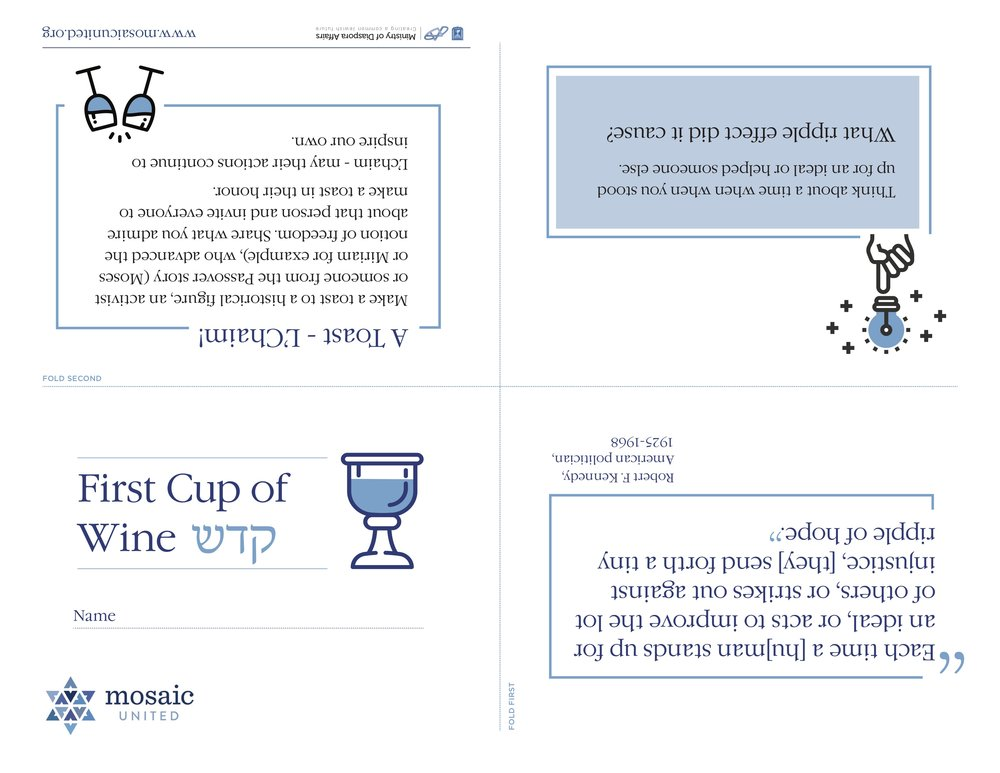 Sample Place Card: First Cup of Wine - קדש
