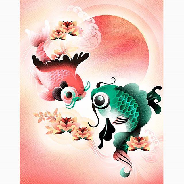 Ainda não tinha postado essa ilustra completa por aqui. A arte oriental é uma fonte incrível de inspiração. Tenho muitas outras ideias de ilustras que quero fazer com esse tema! Amei as minhas carpinhas! #illustration #womenwhodraw #artistsoninstagram #instaartist #draweveryday