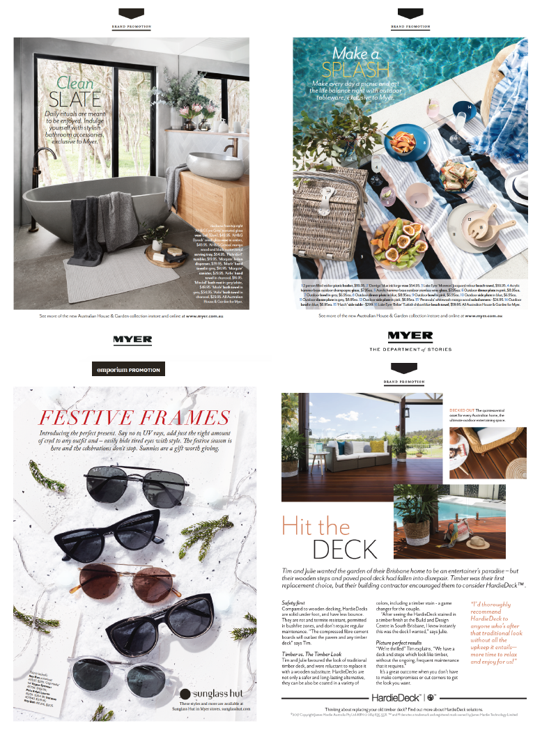 Myer Emporium - As a department store, Myer's Emporium magazine features a number of different client advertorials. The images take center stage, so the text is almost always short form.