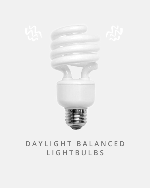 A quick and easy way to get great light for your videos, look for bulbs balanced to around 6500K for the perfect daylight match.