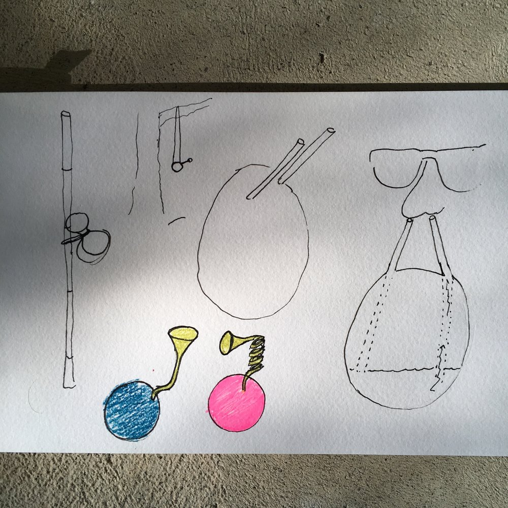 How it all began. My first sketches envisioned a collection of fruit-like vessels. Filled with scented tinctures, they would add a new olfactory element to the empty garden.