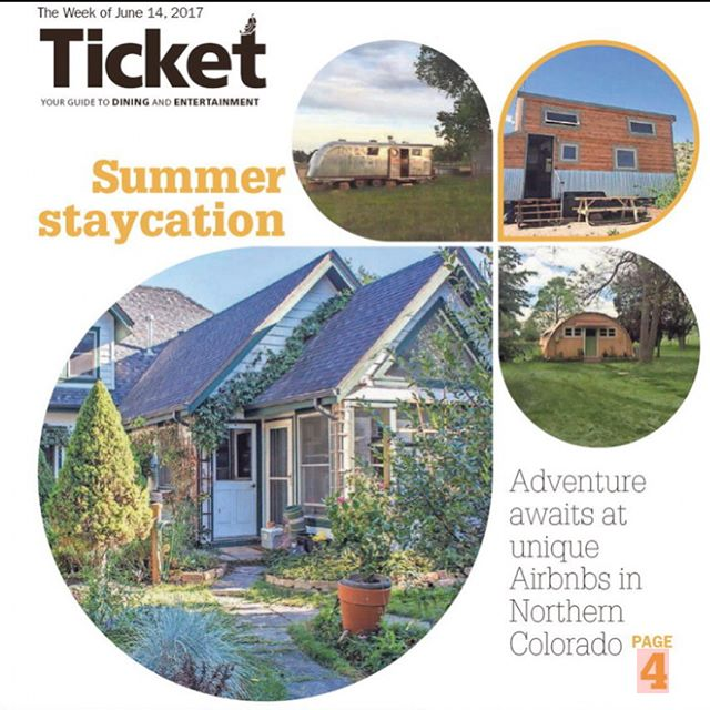Today's paper, @coloradoan, highlights our Tiny House as one of the best local Airbnb places to stay!! . .  #local #airbnb #tiny #tinyhouse #tinyhousemovement #thow #newspaper #staycation #vacation #colorado #fortcollins #mountains #travel #offgrid #nature #honoredtobechosen