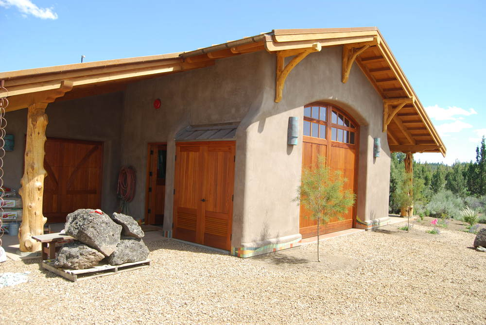 AAC withJuniper post details and sustainably harvested Doug Fir rafter/gable work.  Bend, Oregon