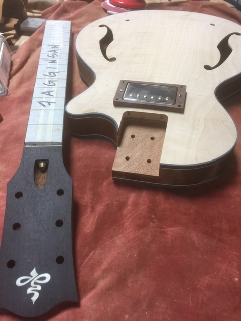 Getting this electric archtop ready for finish