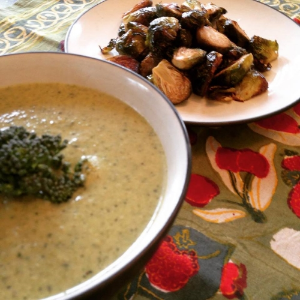 Cheesy Broccoli Soup & Pan Roasted Brussels Sprouts