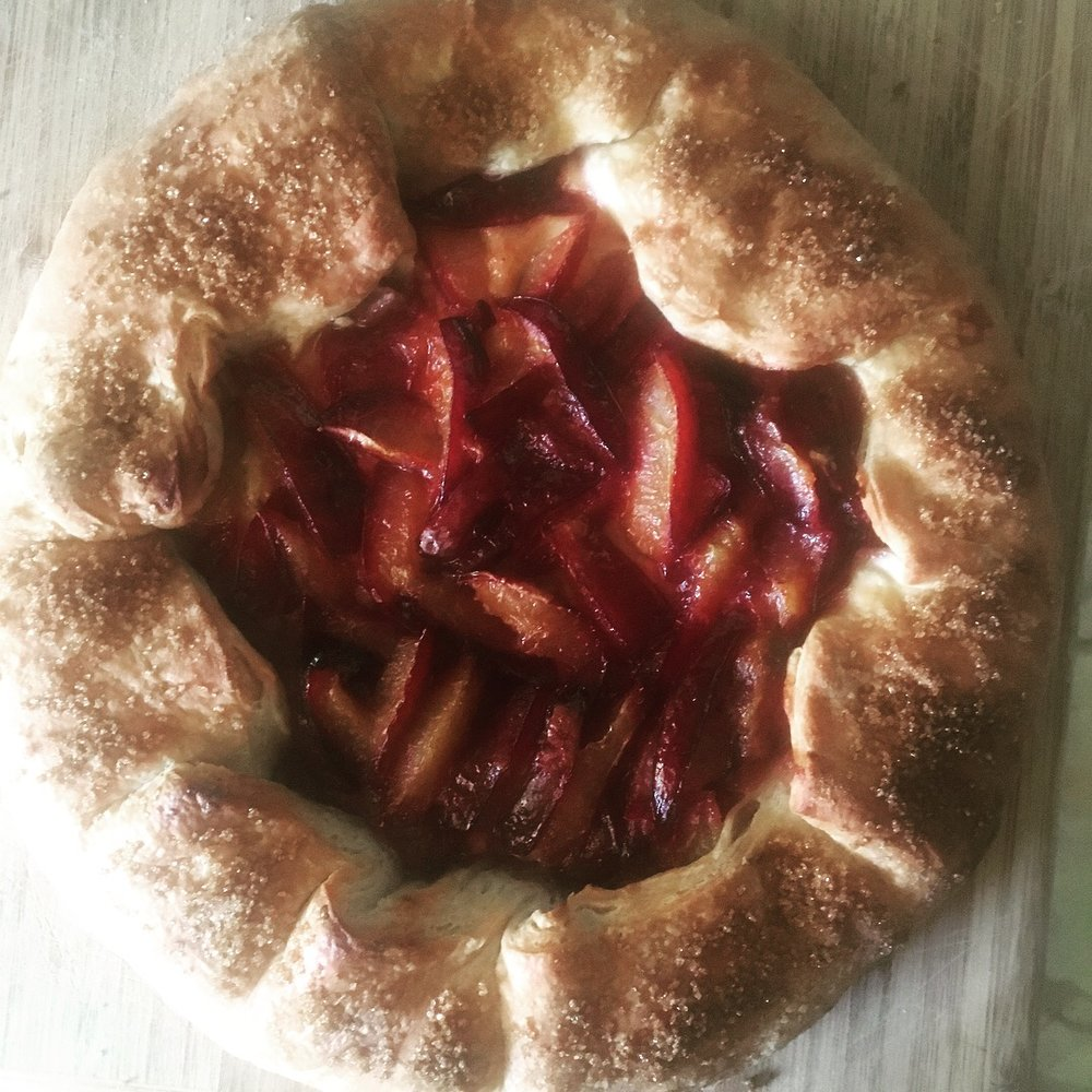Plum and  custard gallette