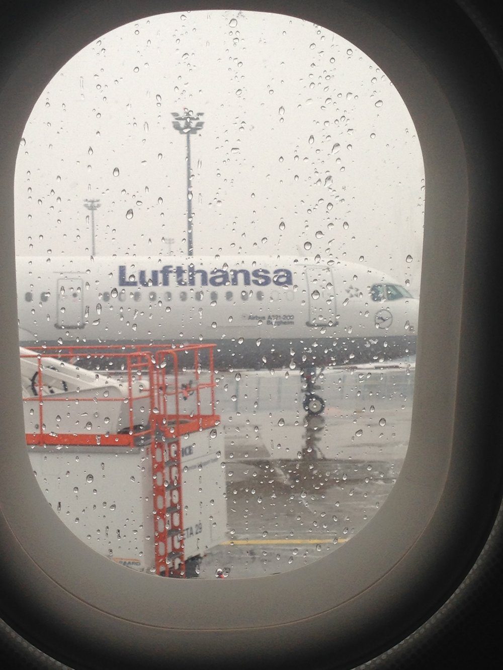 Our flight out of Frankfurt was delayed by snow and limited visibility. I couldn't even see the wings at one point.