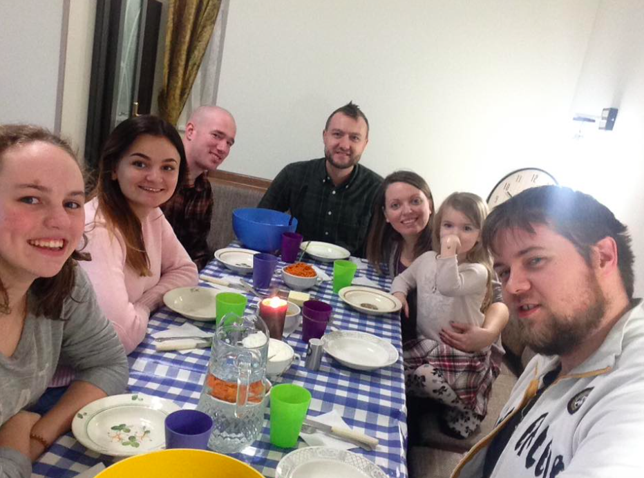 Going around the table we have me, Tamara, Mitch, Daniel, Tatyana, their daughter Camilla, and Josh.
