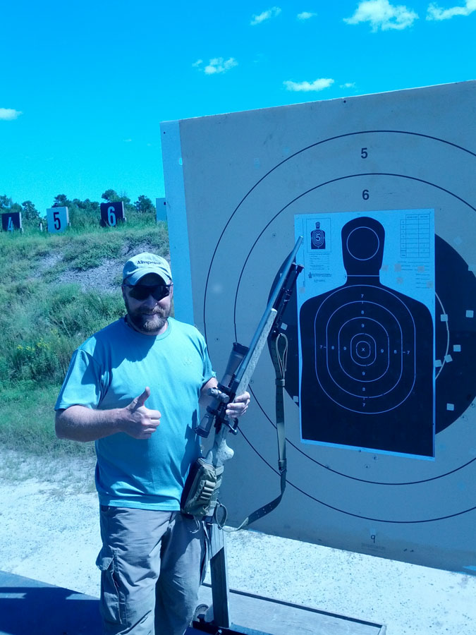 Dave Hall on the range with his tribute target