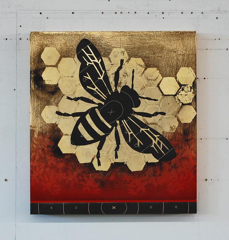 Pollen Junkie (Worker Bee) 22 x 21 x 3 / Original Sold