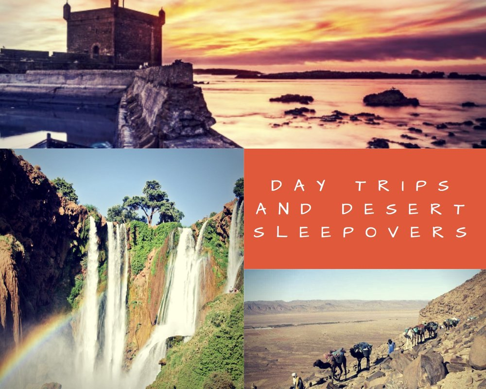 LOCATIONS: MARRAKECH, DAY TRIP TO ESSAOUIRA, OURIKA VALLEY OR CASCADES D'OUZOUD, ZAGORA, MERZOUGA or M'HAMID -