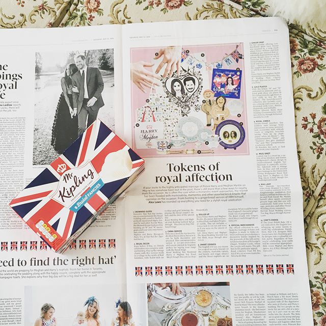 Well, this @globeandmail assignment may have brainwashed me into getting up at 6 a.m. to watch the Royal wedding, but it also made a rainy day pleasantly productive. Thanks for the coffee and mimosa @caitlinagnew and for the @mrkiplingcakes @k8tielou1 🙏 @naomi_misu @tipsnailbar 💅and @vfarq for your wild photog skills that made a hand model out of me! #royalwedding #memorabilia #earlystart