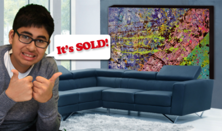 Niam loves when his paintings are sold. Sometimes I think he equates it to that someone has liked it.