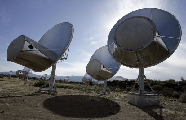 Radio telescopes of the Allen Telescope Array are seen in Hat Creek, Calif.   Ben Margot/AP