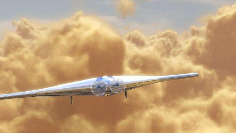 An artist's impression of the VAMP UAV flying through Venus' clouds. Credit: Northrop Grumman