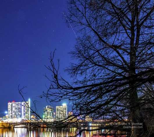 Photograph taken by Christopher Sherman over Austin that shows an object streaking through the sky.  This was taken at roughly the same time as Jensen's sighting.