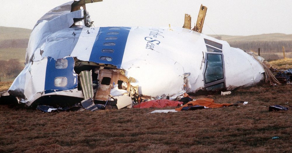 Wreckage of Pan Am Flight 103.