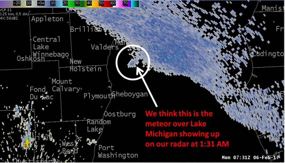 The National Weather Service in Milwaukee reported what they believe was the meteor on their radar.