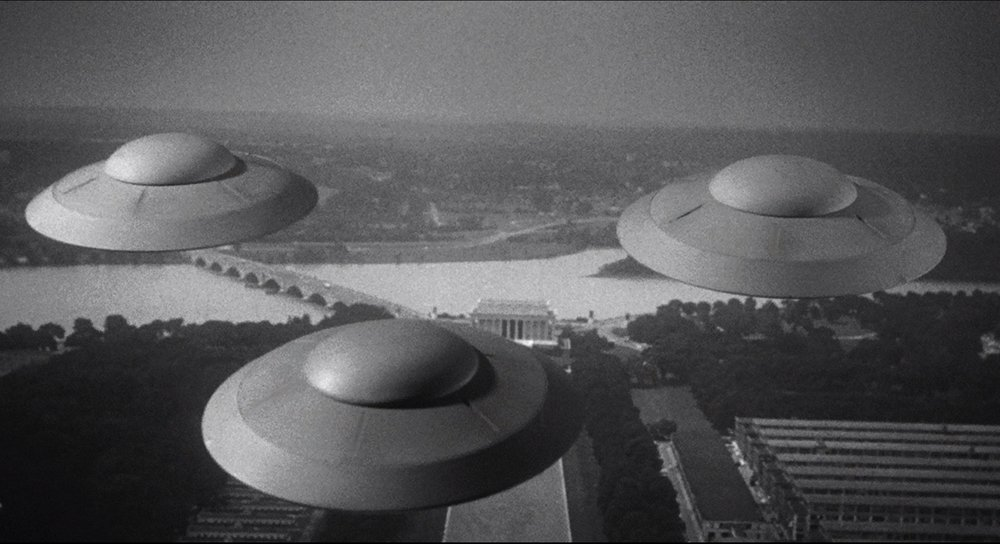 Reported sightings of flying saucer have actually gone down, says Monfort.  Image from Earth vs. the Flying Saucers