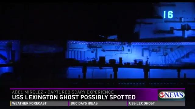 A still of the USS Lexington taken from the KIII broadcast.