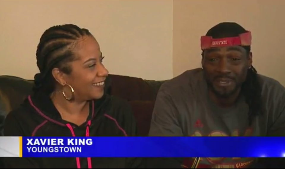 Xavier King with friend Angela Britt.  (Image credit: WKBN)
