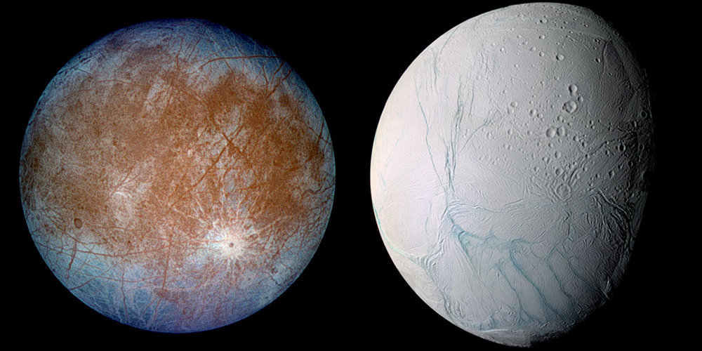 Europa and Enceladus.  (Image credit: NASA)