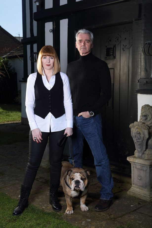 Most Haunted's Yvette Fielding and her husband Karl Beattie with dog Watson (Image Credit: PA)