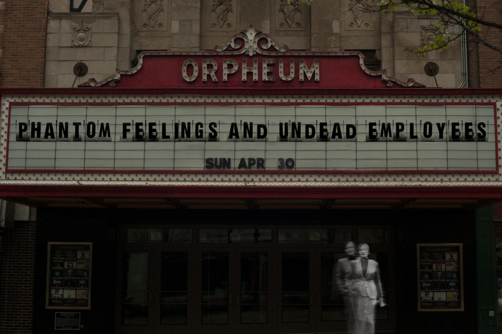 The marquee of the Orpheum Theater.  Please note that this image was manipulated in order to reflect encounters described within the article.