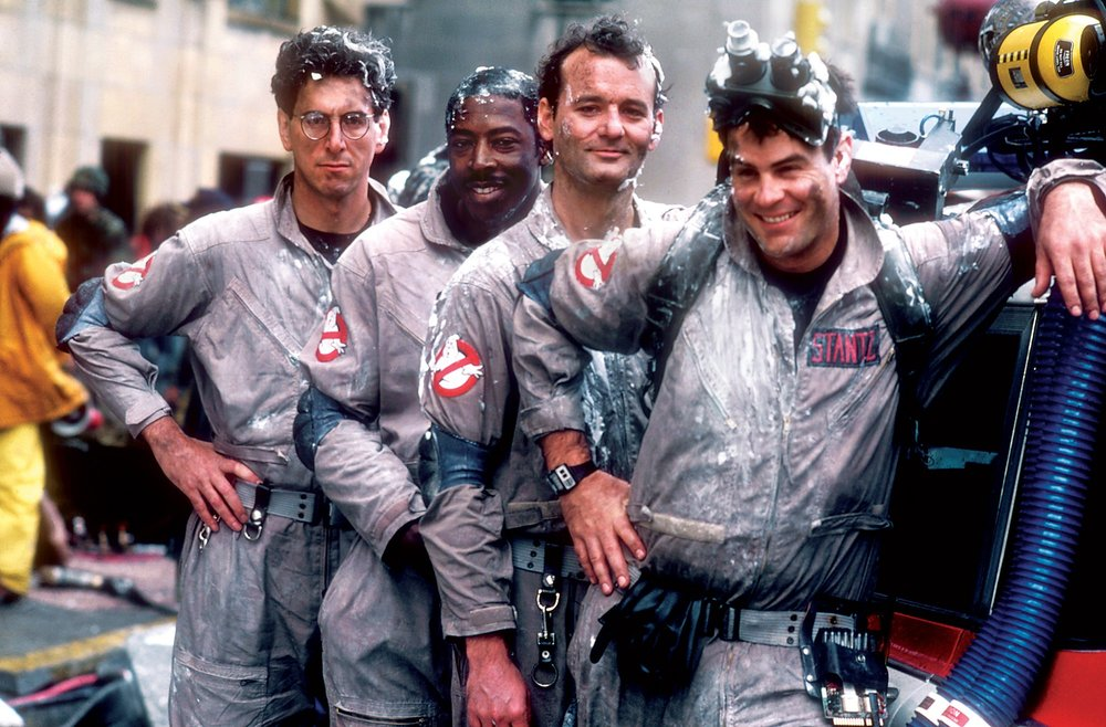 From left to right: Harold Ramis, Ernie Hudson, Bill Murray, and Dan Aykroyd.