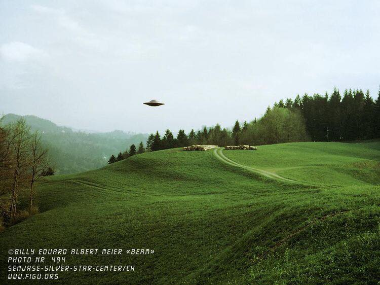 One of reputed contactee Billy Meier's UFO photographs, which are widely regarded as hoaxes.