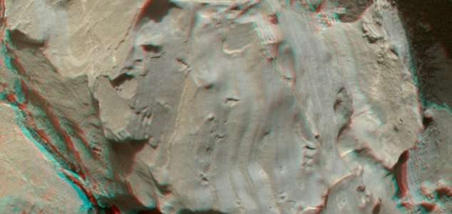 Imprints in rock that DiGregorio claims could represent ancient footprints left by life on Mars.  Image credit: NASA