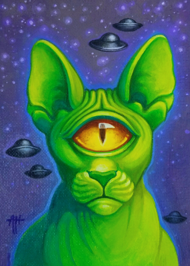 "The cyclopean alien cat ""Whiskers Wazowski"" by Angel Hawari."