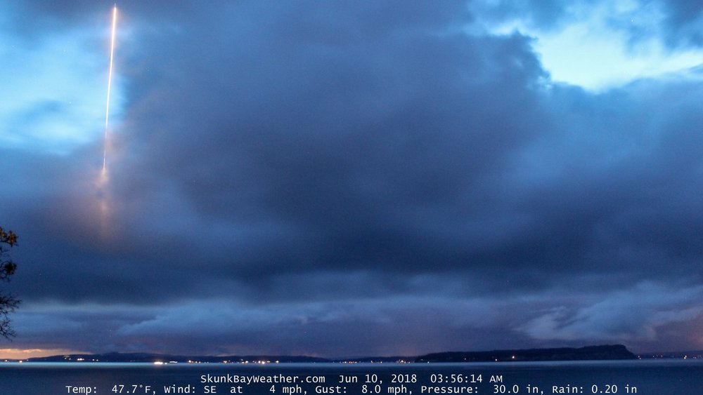 "The ""missile"" captured by Greg Jonhson's night camera.  (Image credit: Greg Johnson/Skunk Bay Weather)"