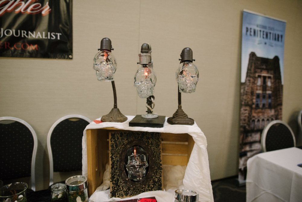 Paranormal researcher April Slaughter is also a talented artist and maker--as evidenced by these superb skull lamps.