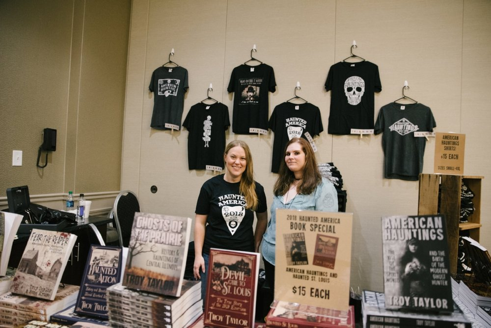 Conference host Troy Taylor has authored over 120 books on ghosts, hauntings, crime and the unexplained in America--many of which were available for purchase at the conference, along with t-shirts to commemorate the event.