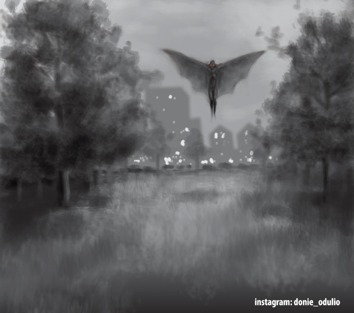 Donie's artwork perfectly captures the eeriness of Chicago's mothman sightings.