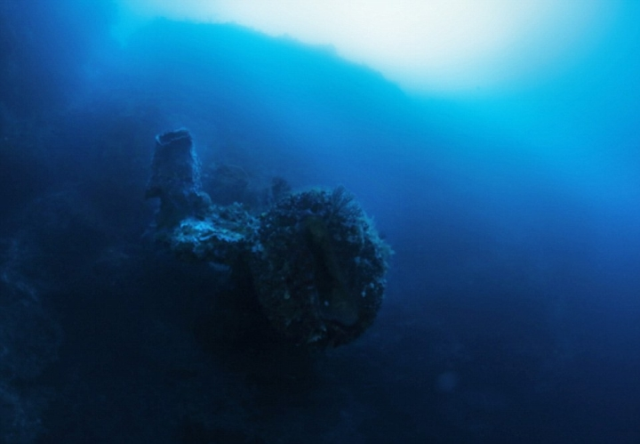 The mysterious object found by Miklos is covered in coral that could be thousands of years old.  (Image credit: Discovery Channel)