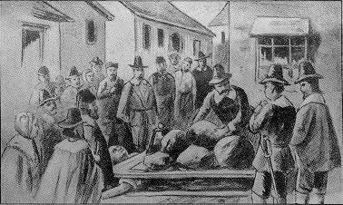 Giles Corey being pressed.  (Image credit: Wikipedia)