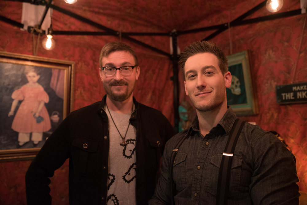 Artist Tyler Strand standing with our own Tobias Wayland. Tyler has put his artistic talents to good use in the museum.