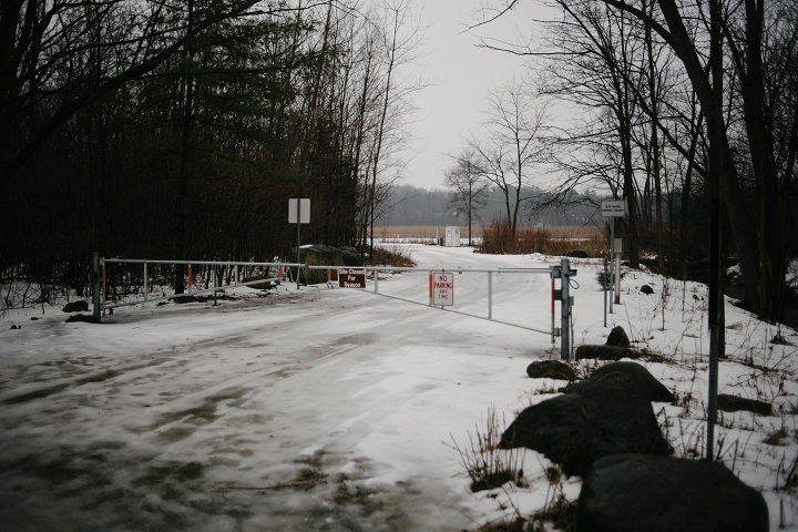 The entrance to Dufield Pond, from where the creature must have come prior to crossing the road.  (Emily Wayland / Singular Fortean Society)