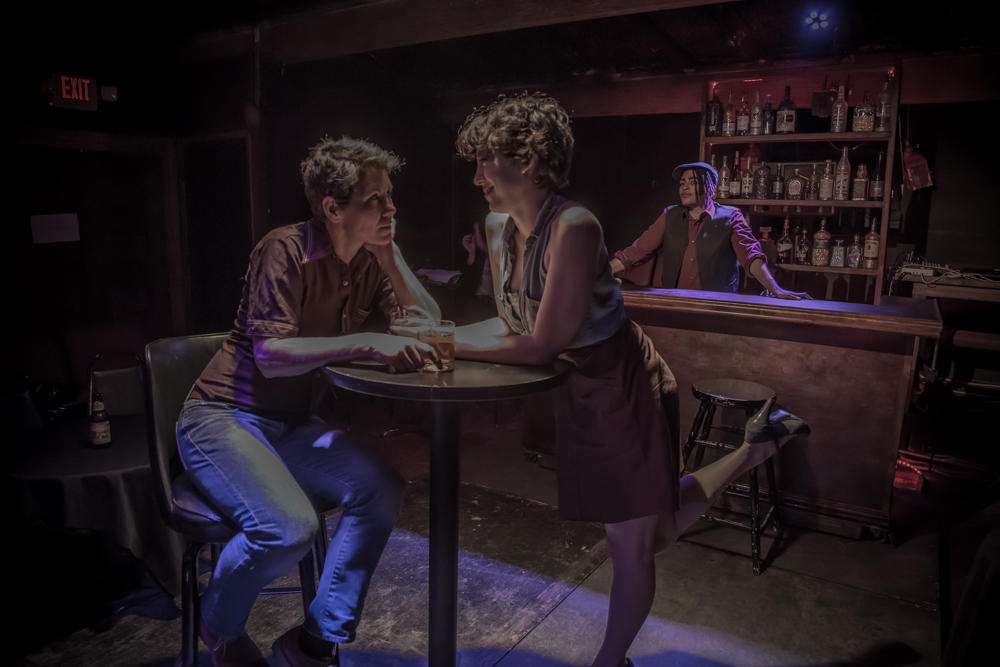 LISA LUONGO, ERICA LANGHOFF, AND INDEE MITCHELL IN AN PRELIMINARY PERFORMANCE OF ALLEGED LESBIAN ACTIVITIES IN JANUARY 2015 AT THE THEATRE AT ST. CLAUDE, NEW ORLEANS. PHOTO BY MELISA CARDONA.