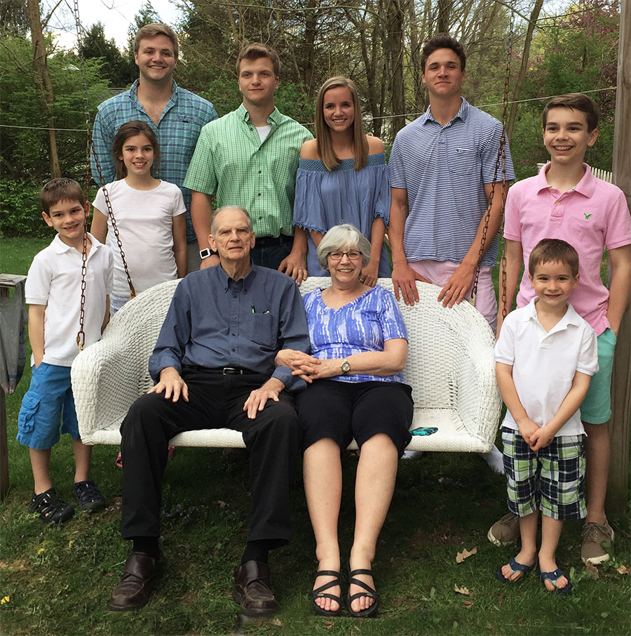 Bob and Ruth Ann Parsley grandchildren (l to r) Nolan White, Lindley White, Jack Parsley, Graham Parsley, Grace Parsley, Teddy Parsley, Mason White, and Hudson White